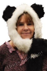 Faux Fur  Cute Panda Animal Hat with Scarf and Mitten Paws