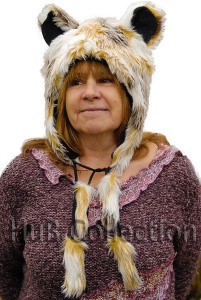 Animal Hat, Faux Fur with Ears and Tassels