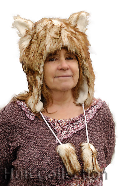 Faux Fur Wolf Animal Hat with Ears and Tassels  d09611a3cd3