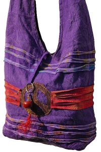 Purple Ethnic ripped shoulder bag