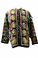 Blue Elephant Print Jacket med
